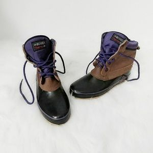 Vintage Woodstock Rubber Lace Up Duck Boots